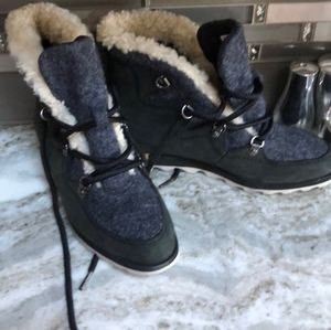 Sorel Wool and Leather Waterproof Ankle Boots